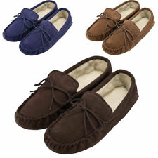 Mens - Ladies Soft Sole Sheepskin Suede Moccasin Slippers with Suede Sole
