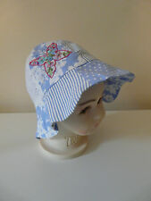 BNWT MONSOON BABY GIRL BLUE WHITE COTTON PATCHWORK SUMMER SUN HAT SIZE 1-3 YEARS