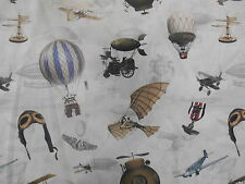 Chatham-Glyn Vintage Hot Air Balloons Cotton Quilting Furnishing Curtain Fabric