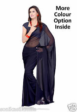 Sonika Plain Faux Georgette Saree with Unstitched Blouse Piece