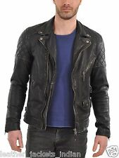Genuine Leather Black Color Jacket For Men's With Coat Collar