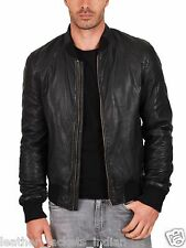 Men's New Stylish Genuine  Black Slim Leather Rider Jacket For Party Night
