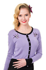 Banned LAVENDER SWALLOWS Long Sleeve Fine Knit Embroidered Cardigan Vintage