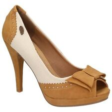 XTI Territory Damen Schuhe Peep-Toe Pumps High Heels Leder-Optik camel