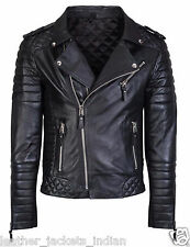 Men's New Stylish Motorcycle Genuine Leather Jacket in Black Color