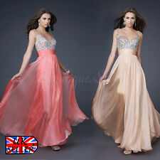 UK Women Formal Wedding Long Dress Bridesmaid Evening Party Cocktail Prom Gown