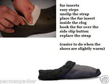 Replacement Liners Insoles Inserts For Crocs Slippers Shoes Clogs Black Warm Fur