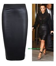 New Womens Wet Look Faux Leather Ladies Pencil Stretch Wiggle Midi Skirt 8-26.