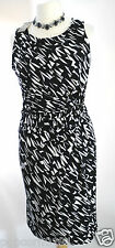 New Planet dress UK 18 Tags jersey black white abstract geometric Knee rrp £99