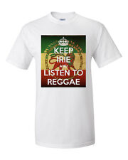 Men's Keep It Irie & Listen to Reggae T-Shirt Ja Cure Bob Marley Sizla Dancehall
