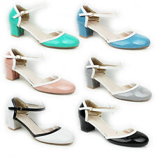 NEW WOMENS LADIES MID HIGH BLOCK HEEL ANKLE STRAP COURT SHOES SANDALS SIZE 3-8