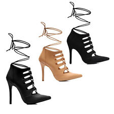 WOMENS LADIES HIGH HEEL TIE UP LACE UP STRAPPY ANKLE COURT SHOES SANDALS SIZE 2-