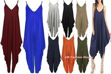 Ladies Womens Lagenlook Cami Strappy Baggy Harem Jumpsuit Playsuit Dress 8-26.