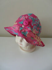 BNWT MONSOON BABY GIRL PINK FLORAL PRINT FLOPPY SUMMER HAT SIZE 0-12 MONTHS