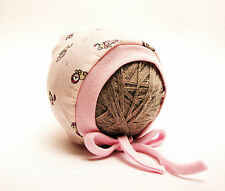 PINK LION PRINTED BABY HAT WITH LACES NEWBORN, 0-3, 3-6 MONTHS 100% COTTON