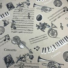 Chatham-Glyn Linen Look Musical Furnishing Curtain Craft Fabric