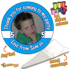24 PHOTO Personalised BLUE DIY Sweet Cone Ribbon Party Bags Kit Stickers 858