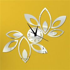 Home Decor DIY Leafs Wall Clock Wall Sticker Multi color -LaserCraftStore-A1031