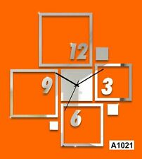 combination squares mirror decoration DIY wall clock-LaserCraftStore-A1021