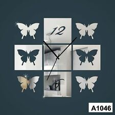 3D butterfly Designer wall clock Multicolor-LaserCraftStore-A1046