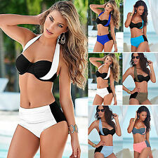 Damen Swimwear Sexy Bandeau Bikini Sets Push Up Padded Split Badeanzug Bademode