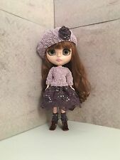Blythe Outfit-Handmade Skirt, top, Beret and socks. Buy together or separately