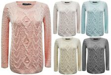 New Women Long Sleeve Knitted Ladies Sweatshirt Cable Jumper Sweater Top