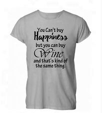 You Can't Buy Happiness But You Can Buy Wine Funny Mens Womens TShirt Grey