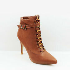 WOMENS LADIES SMART POINTED TOE BUCKLE HIGH HEEL ANKLE BOOTS SHOES SIZE 3-8