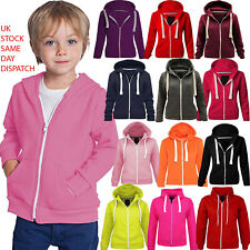 Kids Malaika Hoodie Girls & Boys Unisex Plain Fleece Zip Up Style Age 2-13 Years