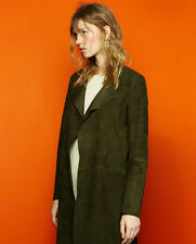 Zara Genuine Suede Leather Khaki Waterfall Coat M L BNWT Bloggers £169