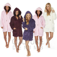 Ladies Coatigan Dressing Gown Robe Soft Hooded Plain Snuggle Fleece Jacket Coat