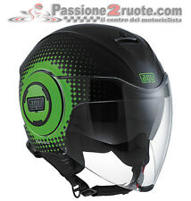 Casco jet Agv Fluid Pix nero verde black green