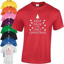Keep Calm It's Only Natale per Bambini T-Shirt Regalo di Cool Umorismo