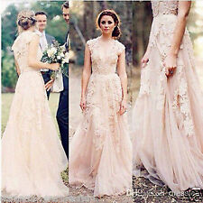 2016 Elegant Vintage Lace Wedding Dresses Cap Sleeve Bridal Gowns Custom made