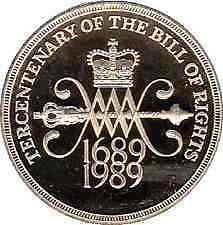 1989 £2 COIN TERCENTENARY OF THE BILL OF RIGHTS 1689-1989