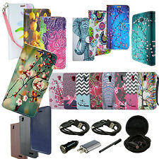 For BLU Studio Phone Flip Card PU Leather Wallet Case Hybrid Folio Pouch +BUNDLE