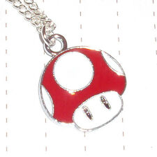 Kitsch Kawaii Cute Super Mario Mushroom 1 up Enamel Charm Necklace