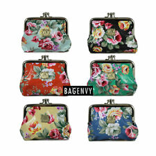 Bag Envy Vintage Floral Double Opener Coin Purse In Black Red Blue Yellow
