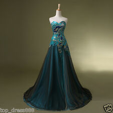 Long Bead Bridesmaid Evening Ball Gown Party Prom Formal Dresses Stock Size 6-20