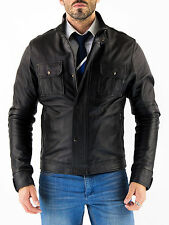 ★Giacca Giubbotto Uomo in di PELLE 100% Men Leather Jacket Veste Homme Cuir Q54a