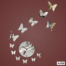 Acrylic butterfly DIY Designer wall clock Multicolor-LaserCraftStore-A1058