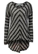 NEW Maurices Womens Black Grey Chevron Stripe Knit Relaxed Fit Long Sleeved Top