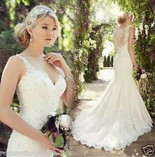White/Ivory Lace Wedding Dress Mermaid Bridal Gown Custom Size 4 - 16 ++