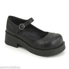 DEMONIA CRUX 07 Ladies Black PU Goth Punk Lolita  Platform Mary Jane Shoes