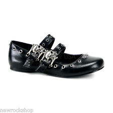 Demonia Daisy-03 Black Vegan Leather Double Strap Skull  Mary Jane Ballet Shoes