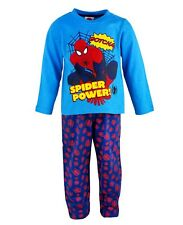 NEW Boys Official Marvel Spiderman 'Spider Power' Blue 2 Piece Long Pyjama Set