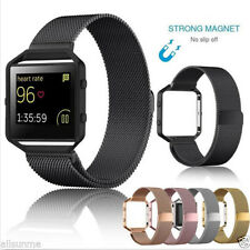 2017 Milanese Magnetic Stainless Steel Watch Band + Metal Frame For Fitbit Blaze