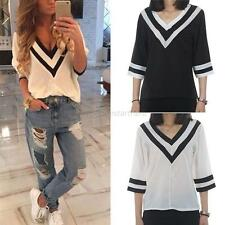 Fashion Women V-neck Chiffon T-Shirt 3/4 Sleeve Casual Loose Blouse Tops NEW
