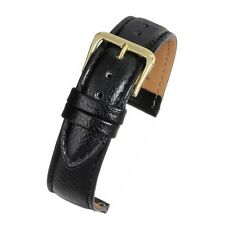 Mens genuine real leather black padded buffalo grain watch strap band width 18mm